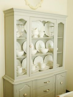 refinished antique china cabinetvintage white | home