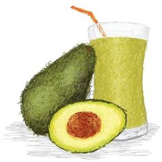 avocado and drink drawing