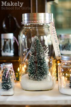 DIY Upcycled Jar Christmas Tree Snow Globes