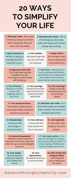 20 ways to simplify your life - Balance Through Simplicity . - 20 ways to simplify your life – Balance Through Simplicity - Vie Motivation, Health Motivation, Vie Simple, Self Care Activities, Self Improvement Tips, Self Care Routine, Life Organization, Life Advice, Self Development