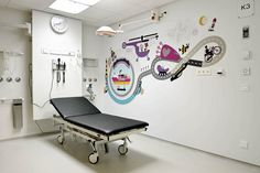illustrations for the Big Kids department of the Emma Children's hospital in Amsterdam, The Netherlands. Medical Design, Healthcare Design, Rehabilitation Center Architecture, Floor Graphics, Interactive Walls, Office Branding, Environmental Graphic Design, Hospital Design, Clinic Design