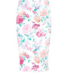 White Floral Scuba Pencil Skirt