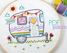 Camping Forest Woods Travel Hand Embroidery PDF por lovahandmade