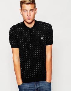 Fred Perry Polo with Pindot Print and Twin Tip