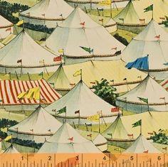 Windham Retro Circus Fabric SHELBURNE CIRCUS TENTS-yds