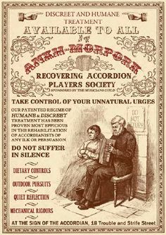 """""""Do not suffer in silence"""" Recovering Accordion Players Society poster from The Compleat Ankh-Morpork: City Guide © Terry Pratchett Discworld Map, Discworld Characters, Terry Pratchett Discworld, Self Help Group, Suffering In Silence, Man Humor, Vintage Ads, Reading, Book Series"""