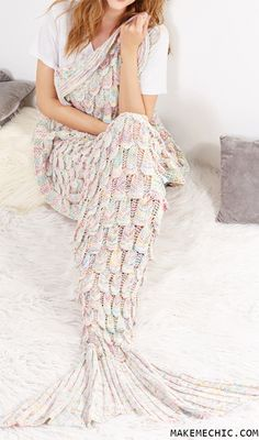 Online shopping for Multicolor Textured Fish Tail Knit Mermaid Blanket from a great selection of women's fashion clothing & more at MakeMeChic. Mermaid Tail Blanket, Mermaid Tails, Knitting Patterns, Crochet Patterns, Knitted Blankets, Fishtail, Cute Gifts, Things To Buy, Girly