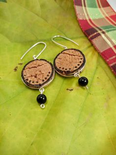 Simple Recycled Cork Earrings, Line Dot Design Cork Earrings, Michigan Made Cork Gift Ideas, Fun Gift for Winos by JujusNature on Etsy