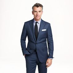 Ludlow peak-lapel suit jacket with double vent in heathered Italian wool - and this man