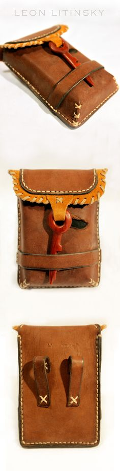 Leather Wood (Padouk) Pouch Bag By Leon Litinsky.