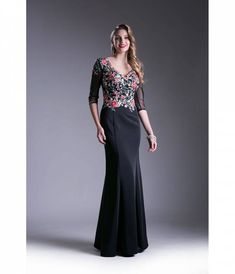 Black & Floral Pattern Three-Quarter Sleeve Prom Dress For Prom 2018