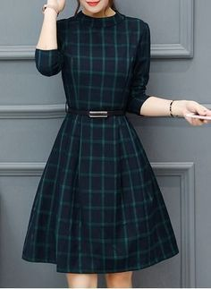 Dresses Polyester Chic Knee-length Long sleeve Pockets Ruffles Others - Moda - Mode Outfits, Retro Outfits, Dress Outfits, Vintage Outfits, Fashion Dresses, Fashion Vestidos, Stylish Dresses, Casual Dresses, Short Dresses