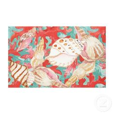 Unique, trendy, fashionable, decorative and pretty canvas print. With beautiful contemporary painting of coral and sea shells in red, pink, and turquoise ocean blue green colors. Cute and fun gift for mom's or dad's birthday, Mother's or Father's day, or Christmas. Great for decorating the master or kid's bedroom, nursery, dining, living or family room, beach or vacation house, cottage or cabin, or office with. Classy, cool, and original beach or ocean themed home decoration.
