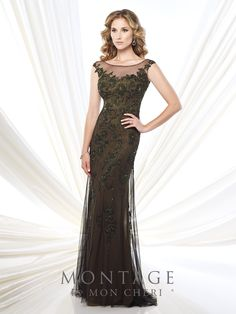 Montage by Mon Cheri - 215913 - Chiffon fit and flare gown illusion cap sleeves and bateau neckline, sweetheart bodice with lace appliqués, keyhole illusion back, flared tulle overlay skirt, sweep train. Matching shawl included.  Sizes: 4 - 20  Colors: Taupe, Dark Olive