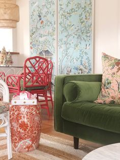 Nashville Bungalow Reveal — Pencil & Paper Co. Green Velvet Sofa, Blue Velvet Dining Chairs, Upholstered Chairs, Wingback Chair, Recycled Plastic Adirondack Chairs, Fire Pit Table And Chairs, Farmhouse Table Chairs, Most Comfortable Office Chair, Used Chairs