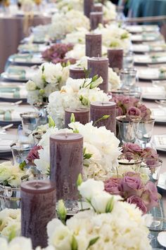 Candles that are taller than your flowers give your centerpiece a little lift.