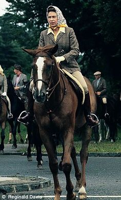 The Queen out riding in the early morning at Ascot in 1972