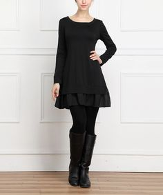 Look what I found on #zulily! Black Ruffle A-Line Dress by Reborn Collection #zulilyfinds