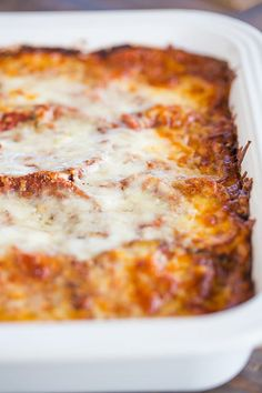 A pan of eggplant parmesan just removed from the oven.