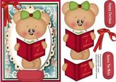 Lovely Christmas Singing teddy  on Craftsuprint designed by Ceredwyn Macrae - A Lovely cute card to make and give to anyone at Christmas Lovely Christmas Singing Teddy, a lovely card has two greeting tags and a blank one for you to choose the sentiment  - Now available for download!