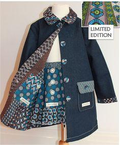 Girls Winter Denim/ African Print Coat Fully by JenniDezigns Little Girl Dresses, Girls Dresses, My Princess, Winter Dresses, Pink Girl, Kids Fashion, African, Denim, Trending Outfits