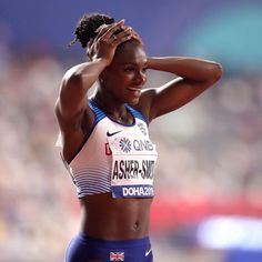If you're looking to improve your running, try the top 6 tips from Dina Asher-Smith, the winner of of the World Athletics Championships. Dina Asher Smith, World Athletics, Crying Face, Blood Sweat And Tears, Track And Field, Athletic Women, Black Women, Champion, Bra
