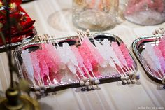 Fun treats are not only nostalgic but also add color to tabletops. Who would have thought rock candy could look so glamorous?