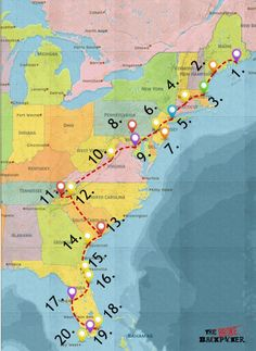 Epic East Coast Road Trip Guide for November 2019 - Itineraries, Tips, Budget Travel Destinations Bucket Lists, Rv Travel, Travel Maps, Places To Travel, Places To Go, Texas Travel, Travel Gadgets, Canada Travel, Vacation Destinations