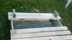 An EZ Peezy Sandbox Shade Canopy Alternative – SandBoxWithCover Bookshelf Plans, Desk Plans, Table Plans, Kids Sandbox, Rev A Shelf, Shade Canopy, Landscape Fabric, Ana White, Woodworking Plans
