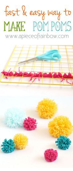 Become pom-pom making NINJAS! How to make many pom poms super fast all in one batch for your crafting projects!Including T-shirt yarn pompoms! - A Piece Of Rainbow
