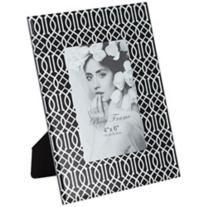 "Giza Black Glass and Silver 4""x6"" Photo Frame"