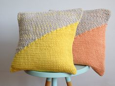 hand knitted cushion grey with yellow No.3 by hjartslag on Etsy, 40x40cm