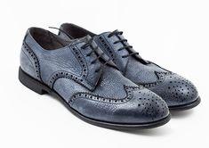 Royal Noble Shoes JAMES vintage shoes Derby wingtip brogues Jeans Blue