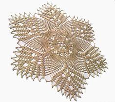 New Hand Crochet Doily,  Ivory, Pineapple Doily via Etsy