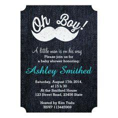 243 best funny baby shower invitations images on pinterest in 2018 boy baby shower funny white mustache blue denim invitation filmwisefo