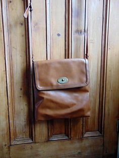 Vintage cross body  bag / chestnut  brown faux by dollycalledtopsy