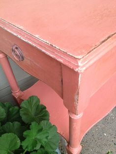 Close up of My Scandanavian Pink Painted Table