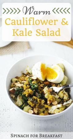 Warm Cauliflower and Kale Salad -- a healthy and easy recipe that is portioned for two people and absolutely delicious! Plus, it's gluten free and dairy free! Enjoy! :)