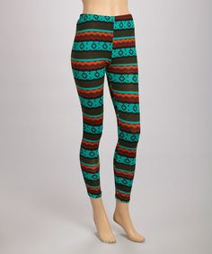 Take a look at this Teal Stripe Leggings by Ami Sanzuri on #zulily today!