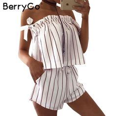 a003b8bdb0c0 BerryGo Off shoulder stripe elegant jumpsuit romper White strap backless bow  overalls Sexy summer beach playsuit women outfit