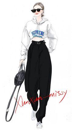 x Hand drawn fashion illustration design Dress Design Sketches, Fashion Design Sketchbook, Fashion Design Drawings, Fashion Model Sketch, Fashion Sketches, Moda Fashion, Fashion Art, Silhouette Mode, Fashion Figure Drawing