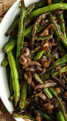 These blistered French green beans with shallots and sesame ginger sauce make a perfectly elevated Thanksgiving or Christmas side dish!