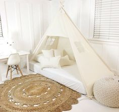 Play Tent Canopy Bed in Natural Canvas - Crib ***As seen in Mother & Baby and Todays Parent Magazine Bed Tent, Canopy Tent, Mattress Dimensions, Tent Design, Design Design, Over The Top, Crib Mattress, Girl Room, Baby Room