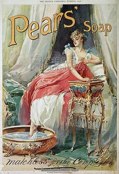 Poster: Pear's Soap advertisement, Woman Bathing, nostalgia cards 1898