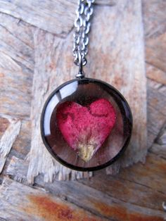 Heart Rose Petal Necklace Real Rose petal encased by ScrappinCop