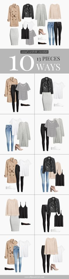 Capsule wardrobe style essentials & minimalist casual outfit ideas | All pieces from H&M | Created by Vanessa at http://www.flipandstyle.com