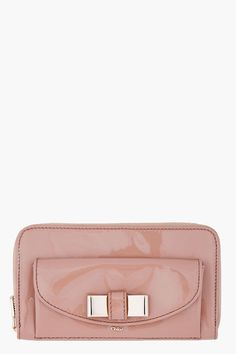 CHLOE Taupe Patent Leather Lily Wallet