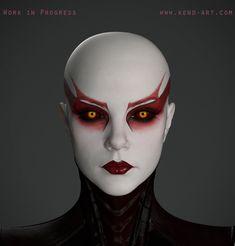 Demon Makeup, Alien Makeup, Makeup Art, Face Makeup, Cyberpunk, Alien Female, Bald Cap, Asajj Ventress, Star Wars Sith