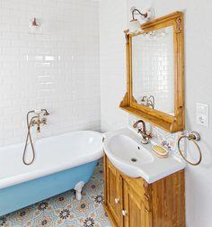 baraka cement tiles in Dióliget cottages Granada, Encaustic Tile, Concrete Tiles, Moroccan Tiles, Clawfoot Bathtub, Sink, Interior Design, Instagram, Budapest