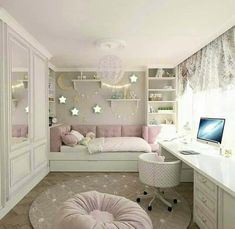 Girls Bedroom Design, Furnishings And Concepts - Home Ideaz Cute Girls Bedrooms, Cute Bedroom Ideas, Awesome Bedrooms, Trendy Bedroom, Bedroom Simple, Bedroom Girls, Bedroom Bed, Teen Bedrooms, Star Bedroom